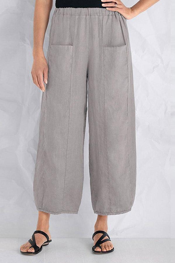 Linen Solid Pockets Casual Pants-BOTTOMS-Modabae