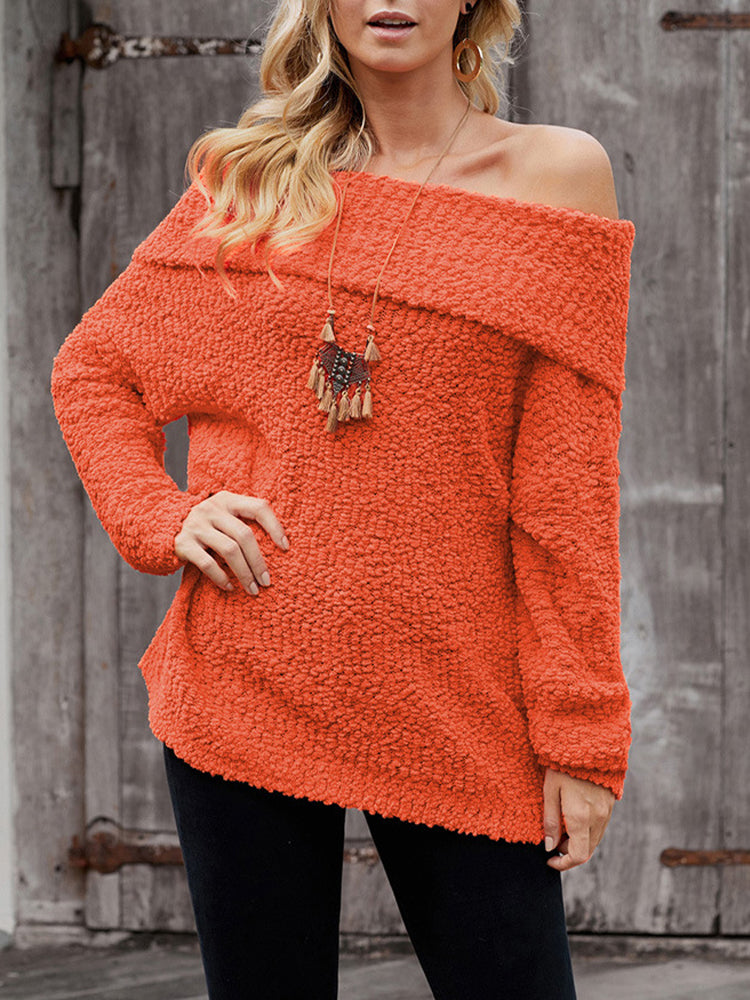 Solid Color Chest Wrap Sweater-Tops>Sweaters>Casual-Modabae