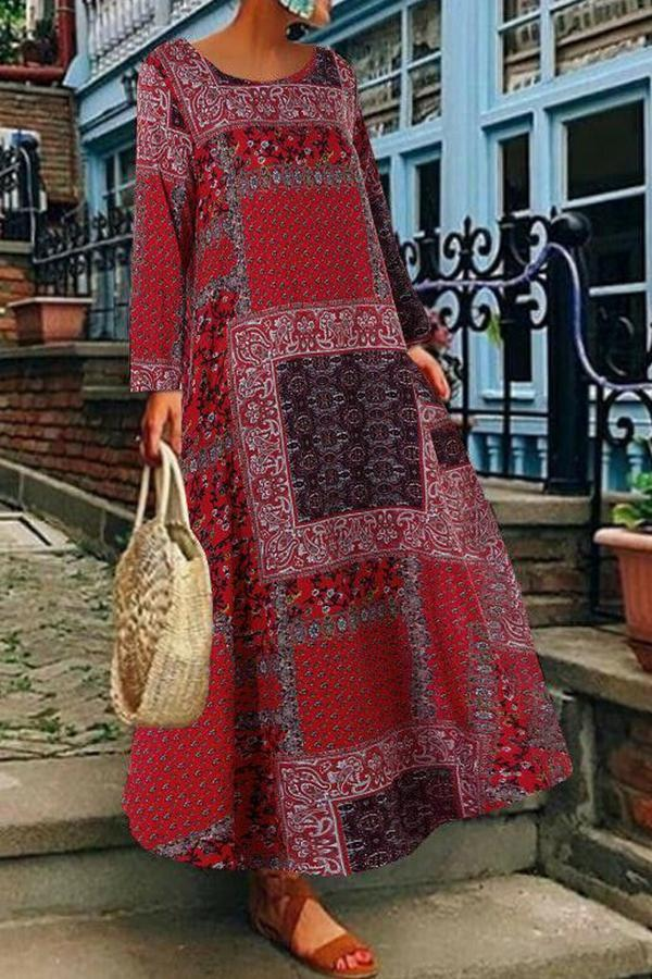Vintage Printed Long Sleeves Round Neck Maxi Dress-DRESSES-Modabae