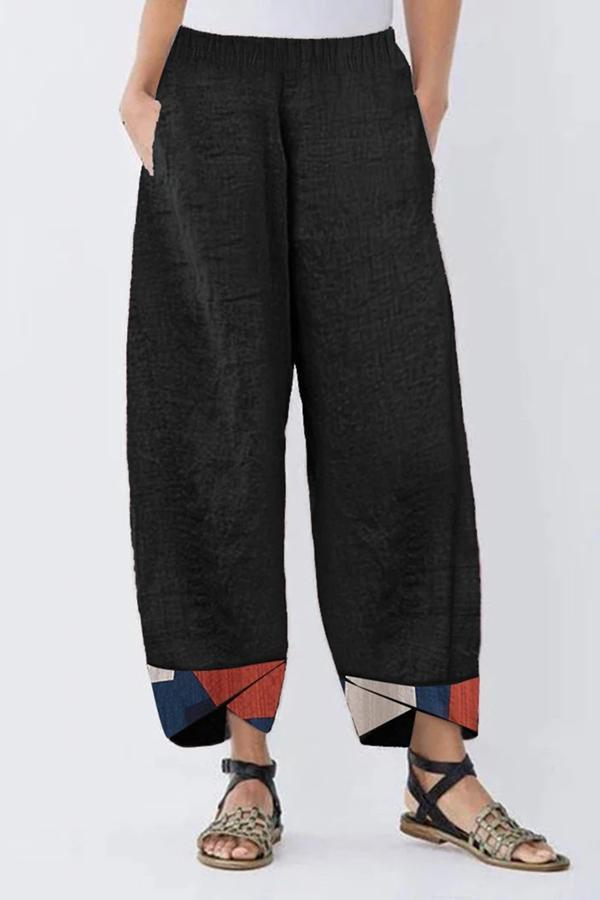Geometrical Print Casual Linen Pants-BOTTOMS-Modabae