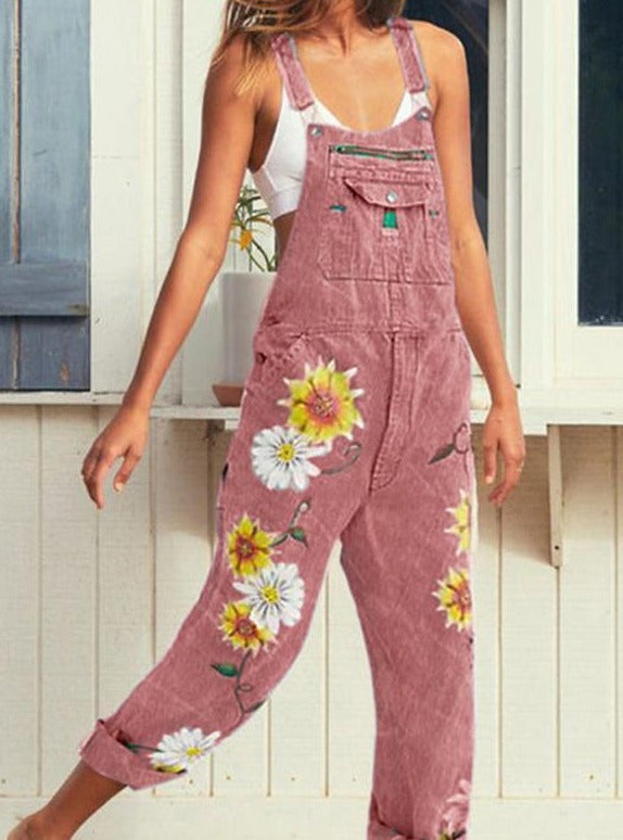 Casual Print Embroidery Sling Jumpsuits-BOTTOMS-Modabae