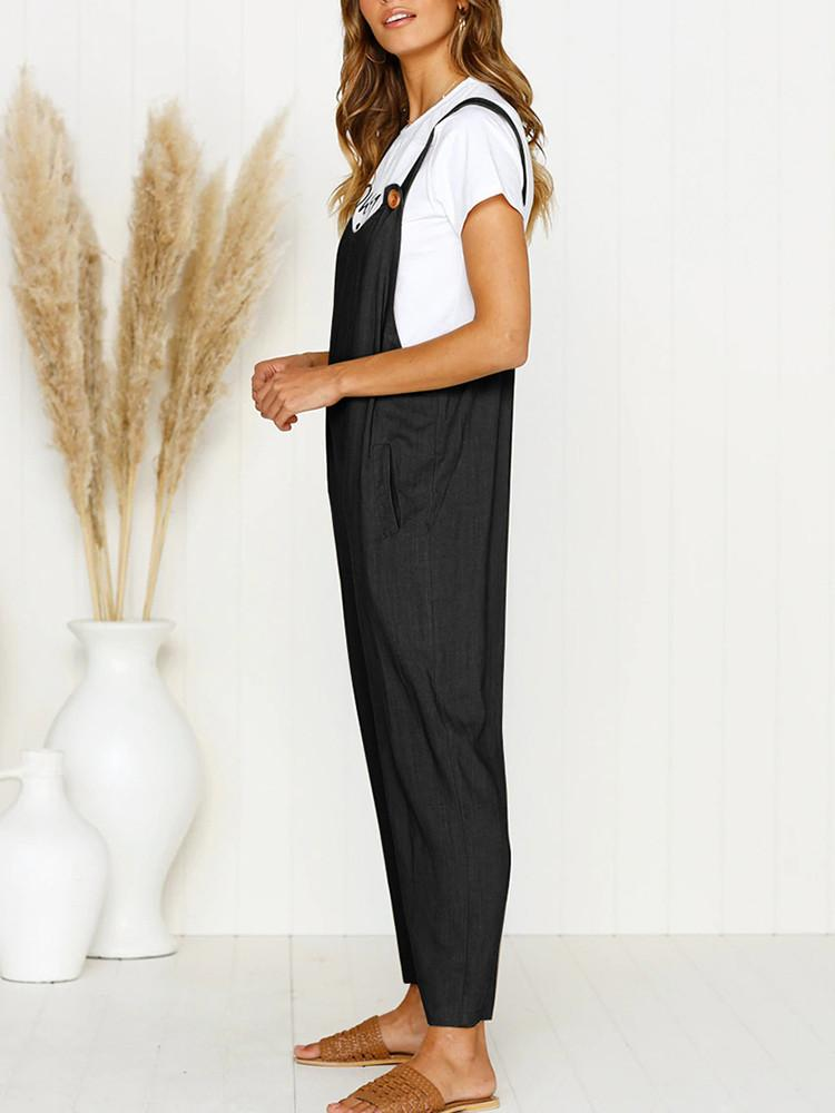 Solid Wide Leg Strappy Jumpsuit Overalls-Jumpsuit-Modabae