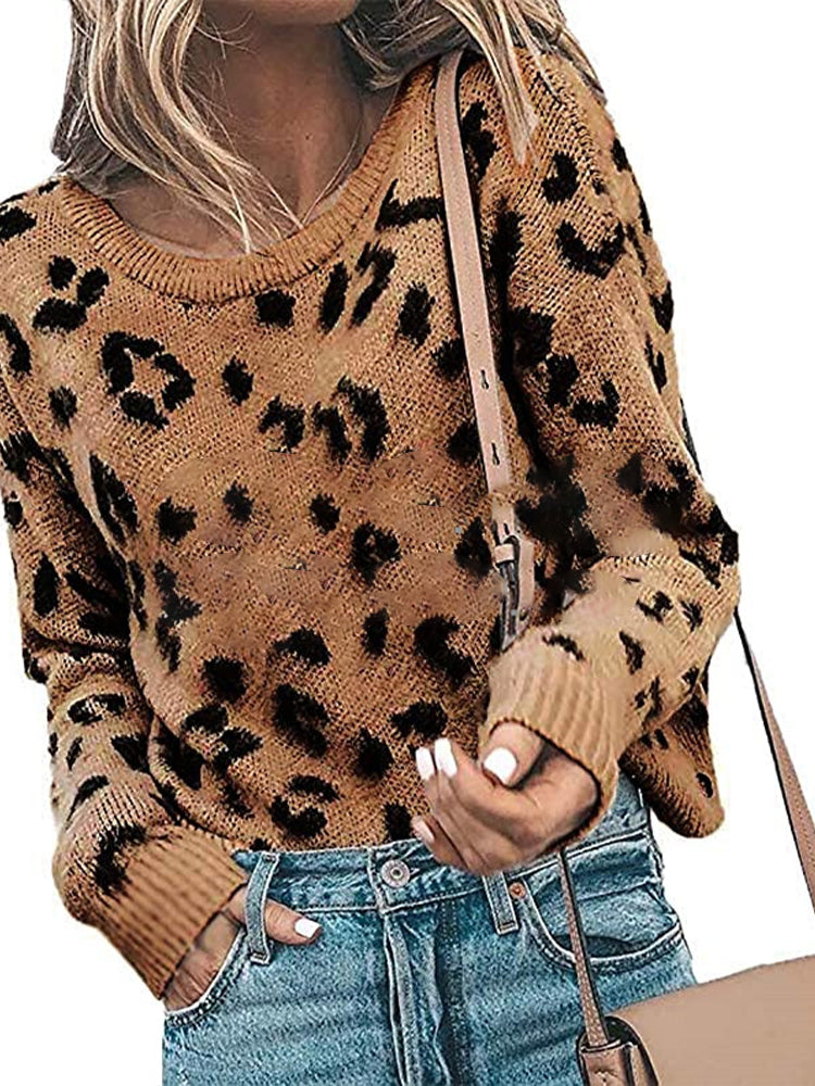 Leopard Knit Sweater-Tops>Sweaters>Casual-Modabae