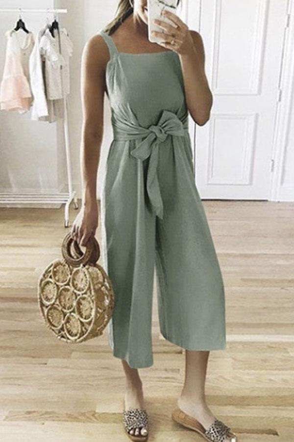 Linen Self-tie Waist Sleeveless Casual Jumpsuit-BOTTOMS-Modabae