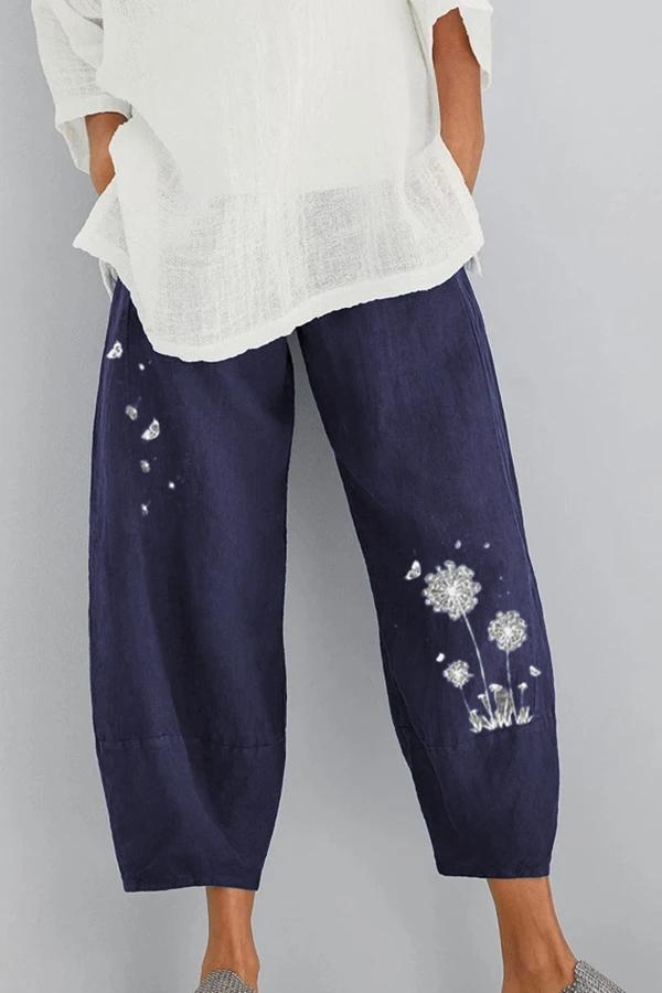 Floral Printed Casual Linen Shift Pants-BOTTOMS-Modabae