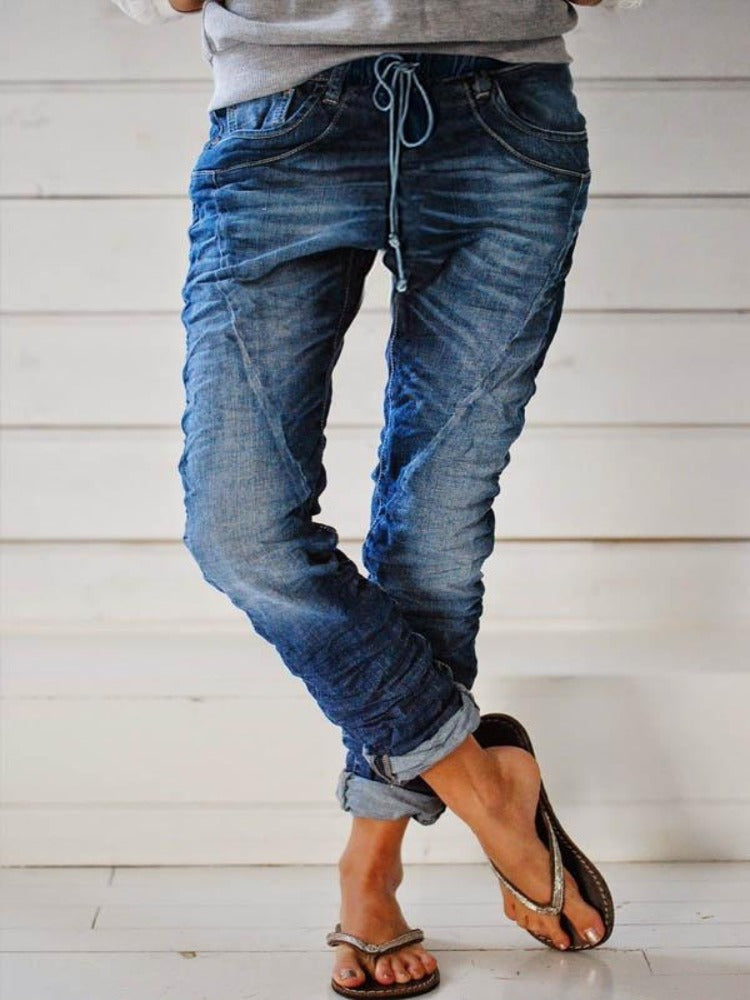 Casual Paneled Solid Side Pockets Self-tie Jeans-Bottoms-Modabae