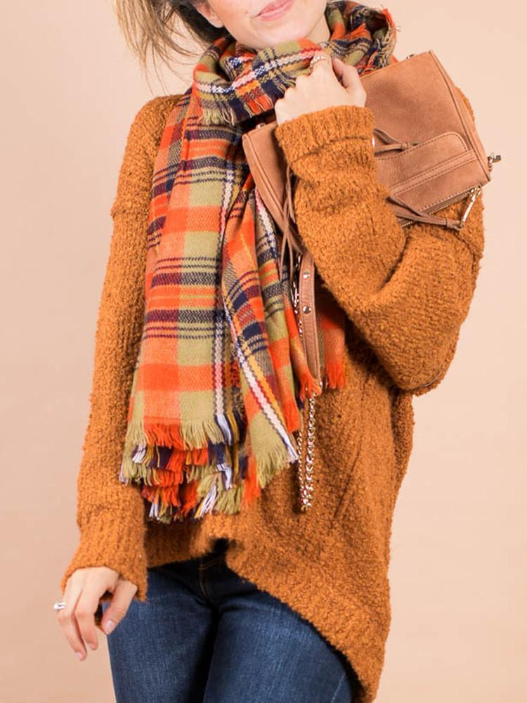 Check Cashmere Square Scarf-Accessories>Scarves>Fashion-Modabae