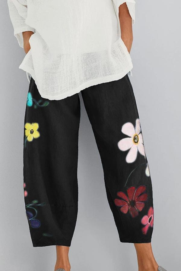 Floral Printed Shift Pants-BOTTOMS-Modabae