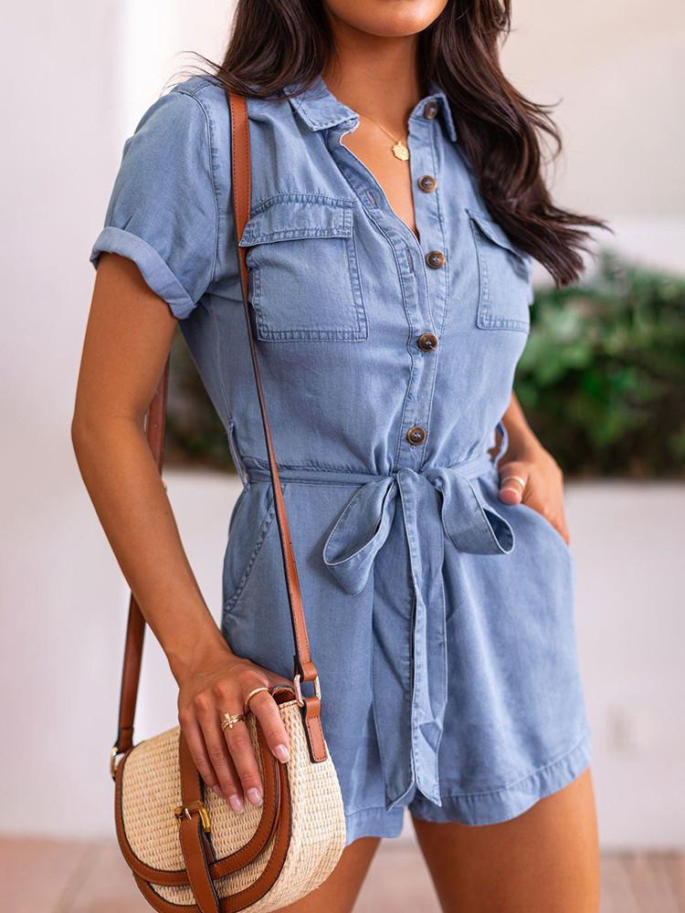 Denim Shirt-Collar Button Pockets Belted Romper-Jumpsuits-Modabae