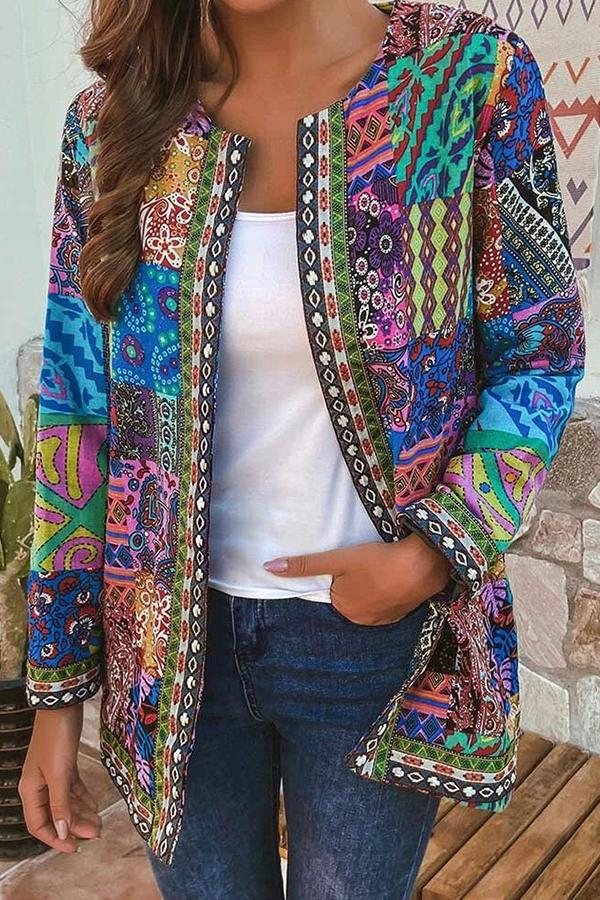 Multicolored Graphic Print Paneled Side Pockets Vintage Coat-Outwears-Modabae