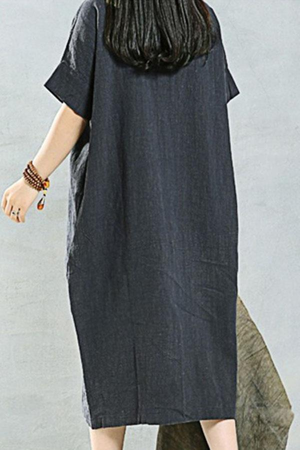 Casual Solid V Neck Short Sleeves Maxi Dress-DRESSES-Modabae