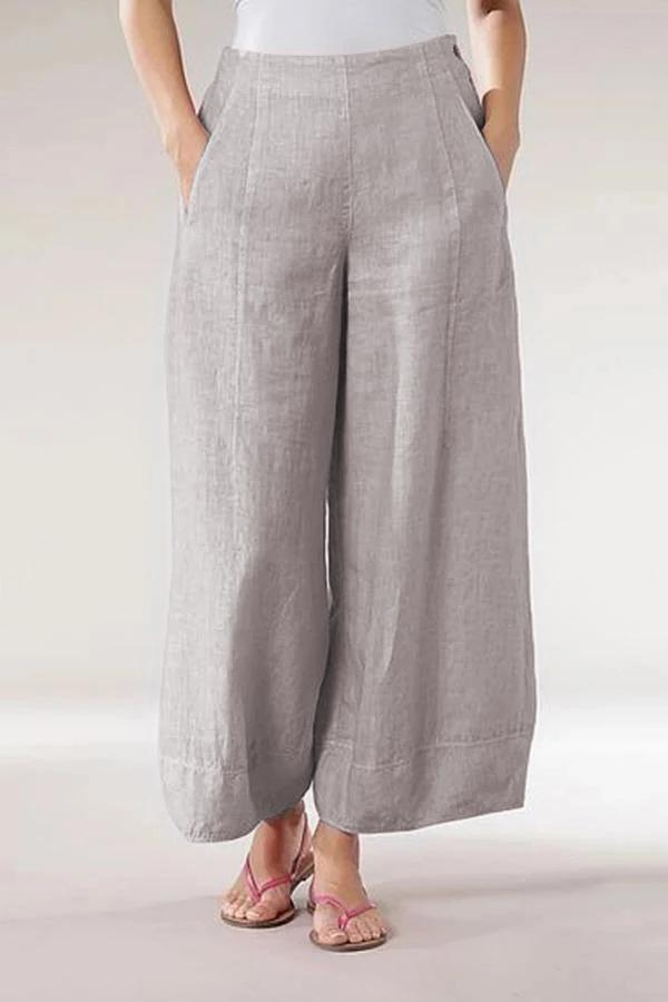 Zipper Linen Side Pockets Casual Pants-BOTTOMS-Modabae