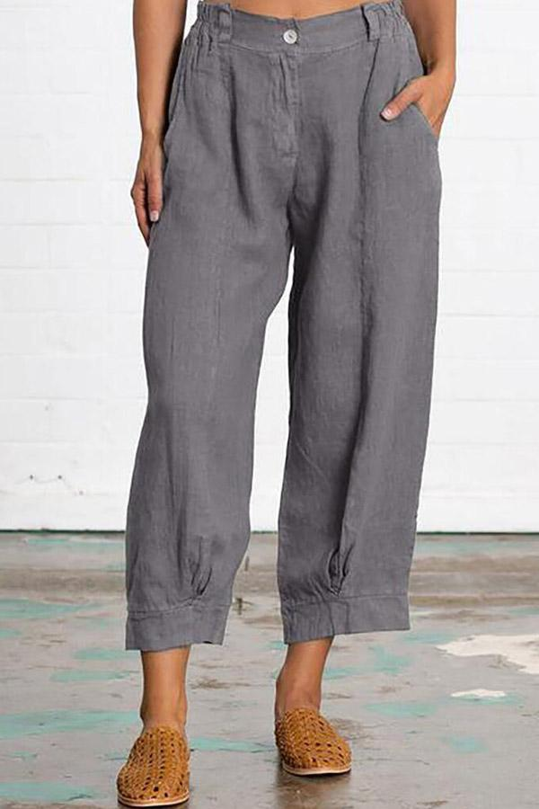 Casual Solid Loose Pocket Pants-BOTTOMS-Modabae