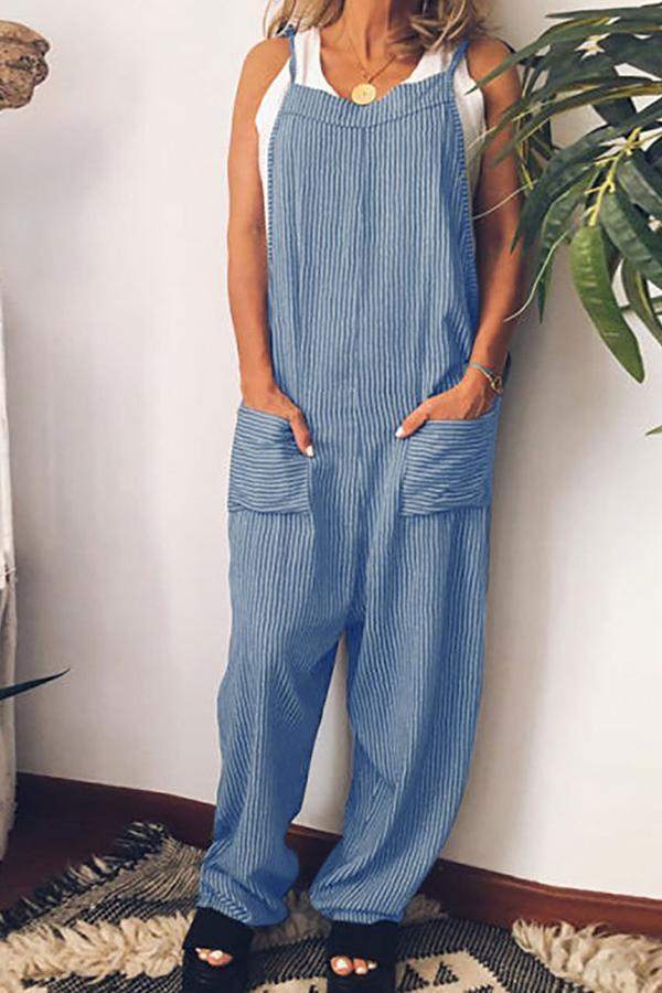 Stripe Print Pockets Loose Jumpsuit-BOTTOMS-Modabae
