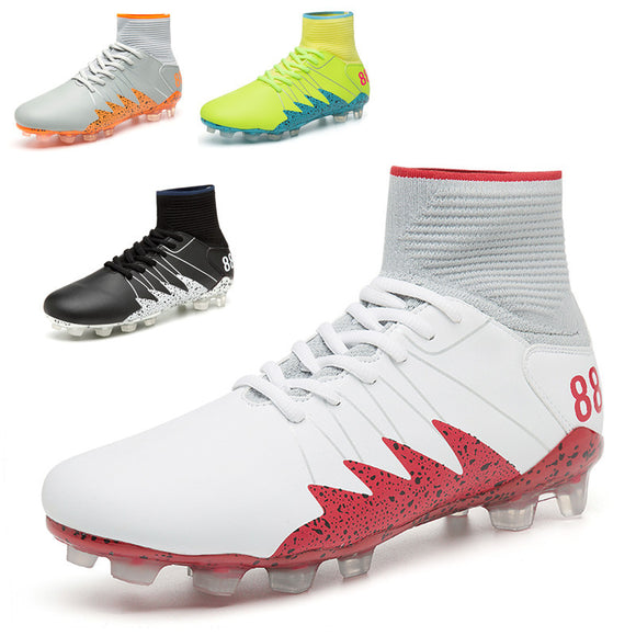 High help football shoes spring autumn and winter leather socks shoes tied with glue nails long nails competition grass professional training shoes.