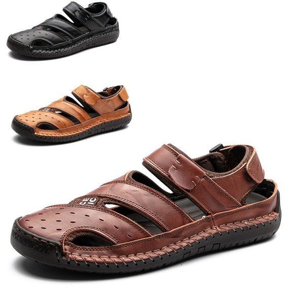 Men's Handmade Sandals with Large Size Sandals New Head Leather Baotou Outdoor Shoes