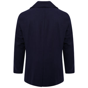 Harry Brown Navy Double Breasted Wool Blend Peacoat