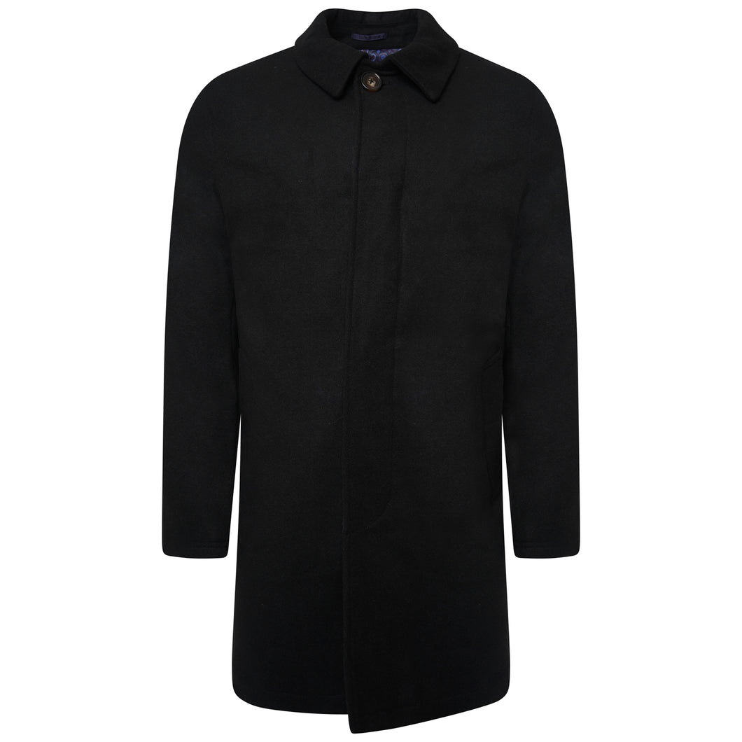 Harry Brown Black Wool Blend Overcoat