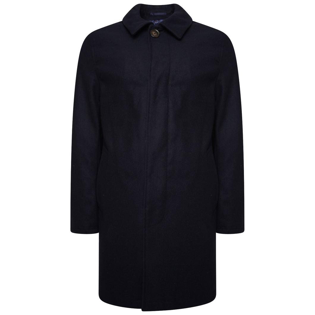 Harry Brown Navy Wool Blend Overcoat