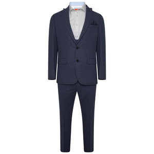 Harry Brown Light Blue Three Piece Slim Fit Wool Suit