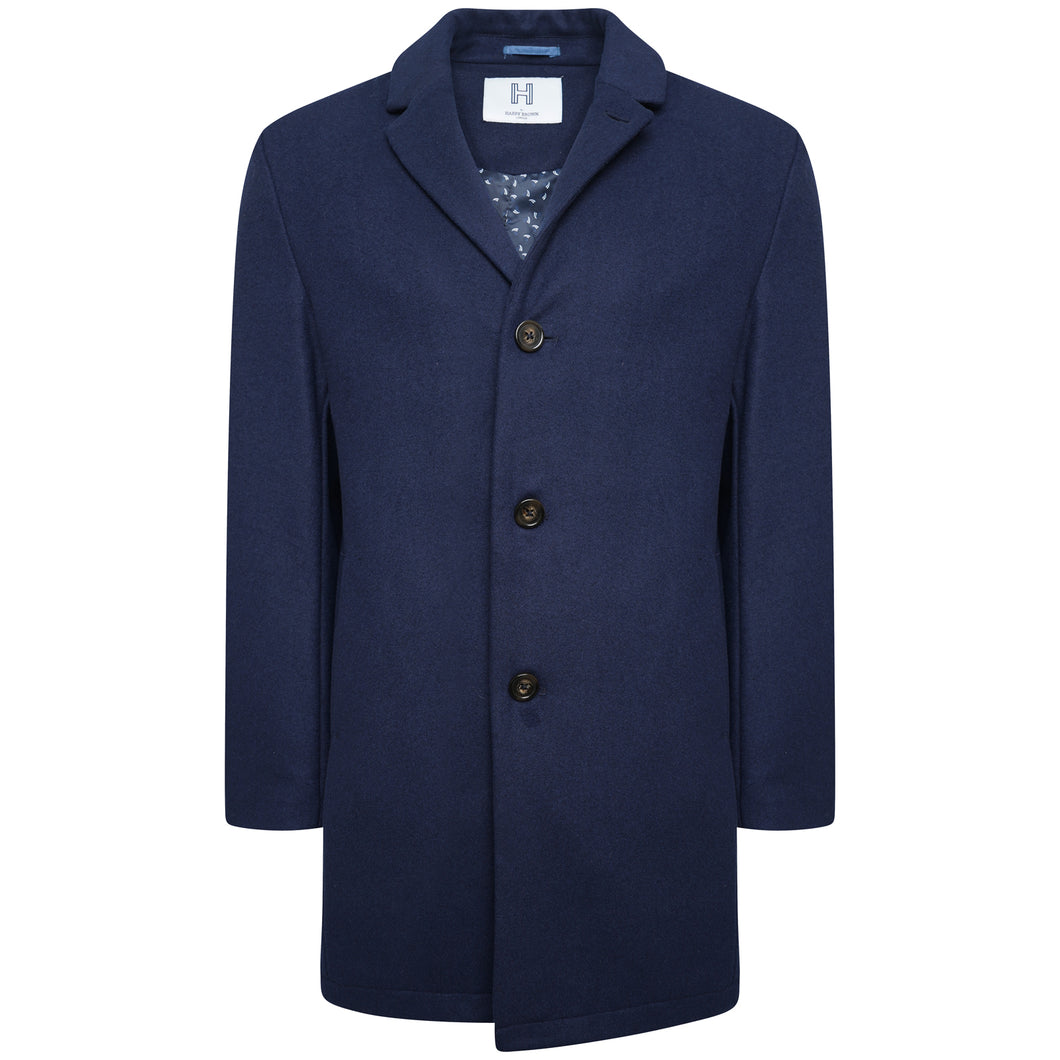 Harry Brown Navy Wool Overcoat