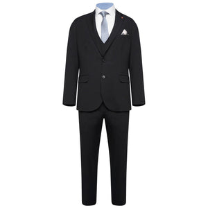Harry Brown Black Three Piece Slim Fit Wool Suit
