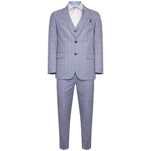 Harry Brown 3 Piece Slim Fit Suit in Light Blue Check