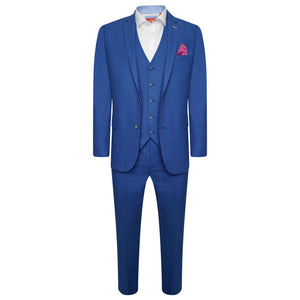 Harry Brown Three Piece Slim Fit Linen Blend Suit in Dark Blue