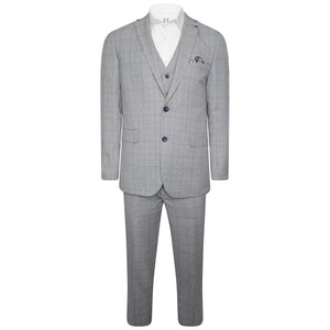 Harry Brown Three Piece Slim Fit Suit in Black / White Check