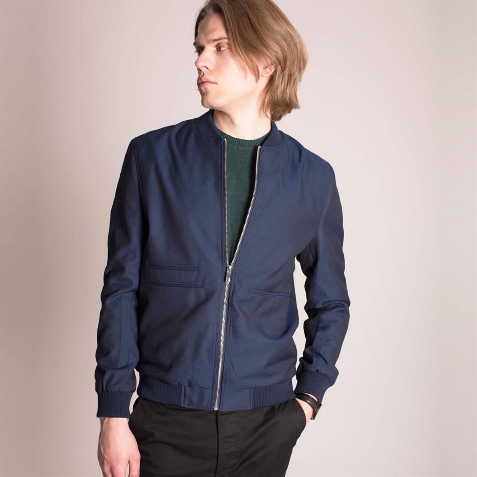 Harry Brown Blue Smart Casual Bomber Jacket