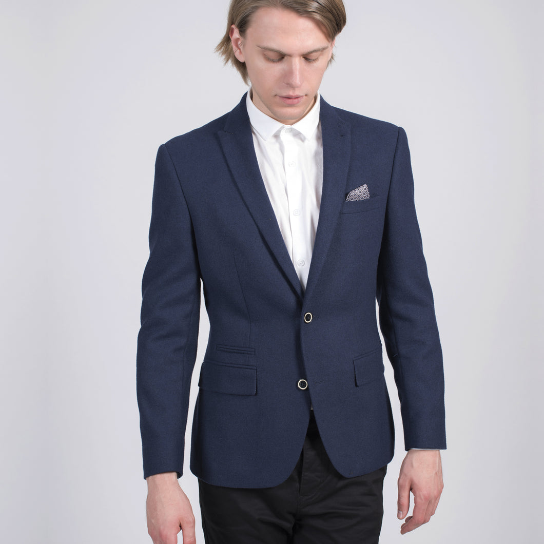 Sawyers + Hendricks Slim Wool Blue Blazer