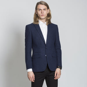 Harry Brown Navy Wool Blend Tailored Fit Blazer