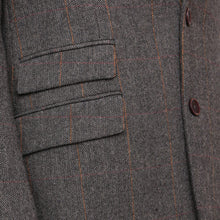 Load image into Gallery viewer, Harry Brown Grey-Brown Check Wool Blend Tailored Fit Blazer