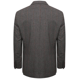 Harry Brown Grey-Brown Check Wool Blend Tailored Fit Blazer