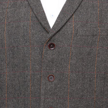 Load image into Gallery viewer, Harry Brown Grey-Brown Check Wool Blend Waistcoat