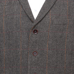 Harry Brown Grey-Brown Check Wool Blend Waistcoat
