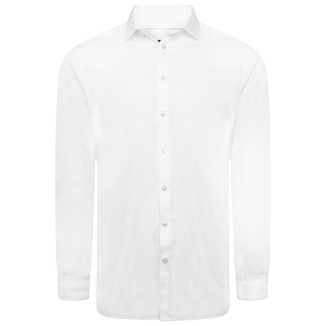 Penguin Cotton Plain White Fine Twill Shirt