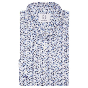 Harry Brown Ditsy Floral Slim Fit Shirt in Blue