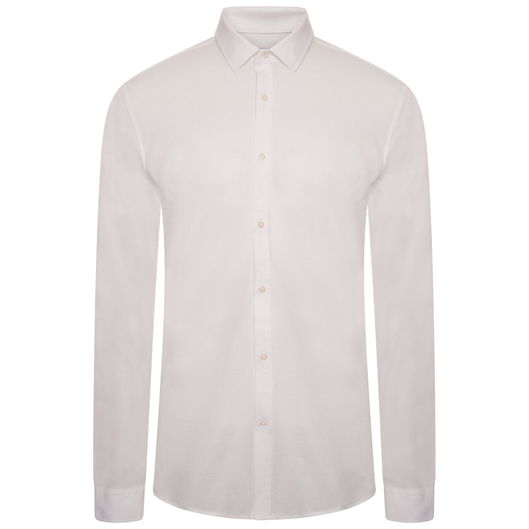 Harry Brown Pique Slim Fit Shirt in White