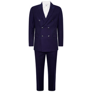 Harry Brown Two Piece Slim Fit Double-Breasted Suit in Blue Pinstripe