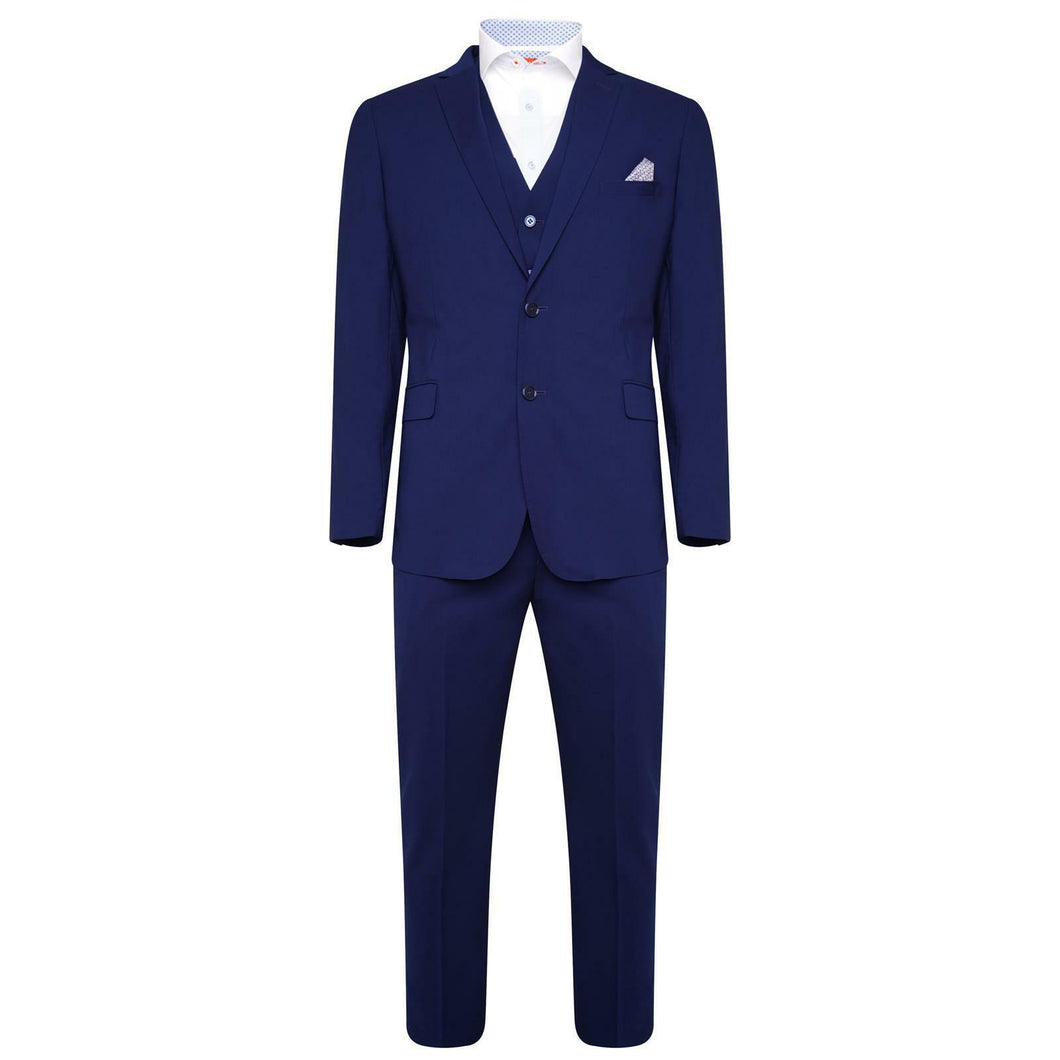 Harry Brown Blue Bamboo Three Piece Slim Fit Suit