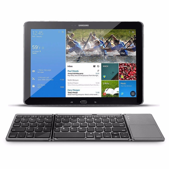 Pocket-Sized Rechargeable Bluetooth Keyboard with Touchpad Mouse