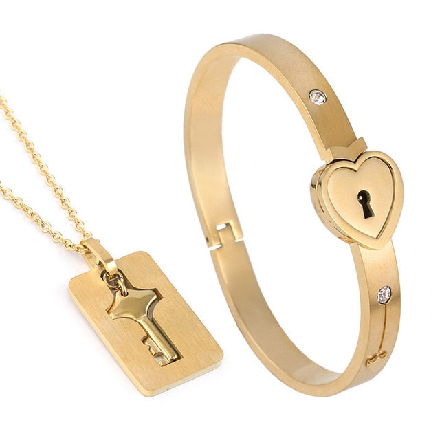 Heart Lock Bracelet  And Key Necklace