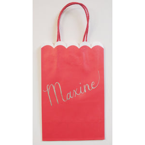 Personalized Valentine's Day Red and White Gift Bag
