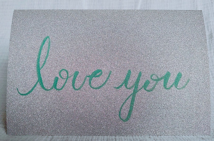 Silver glitter cardstock card