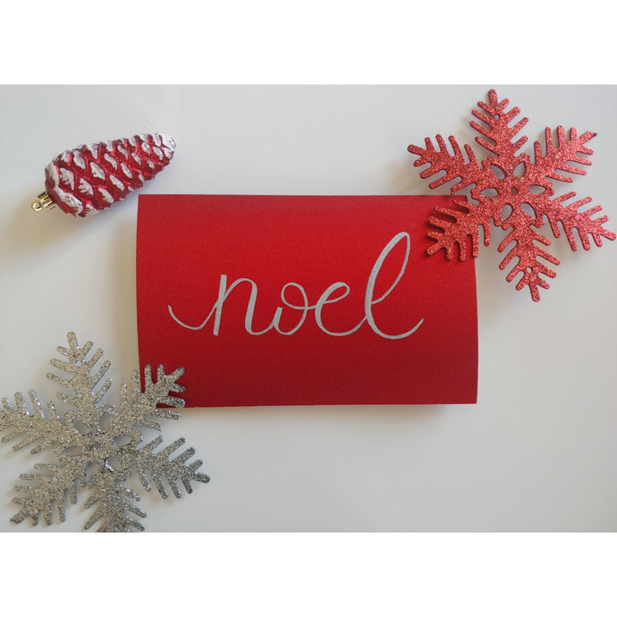 Red glitter card Christmas card
