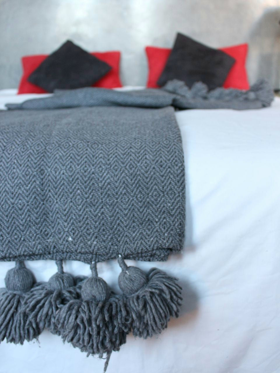 Moroccan blanket, gray throw blanket.