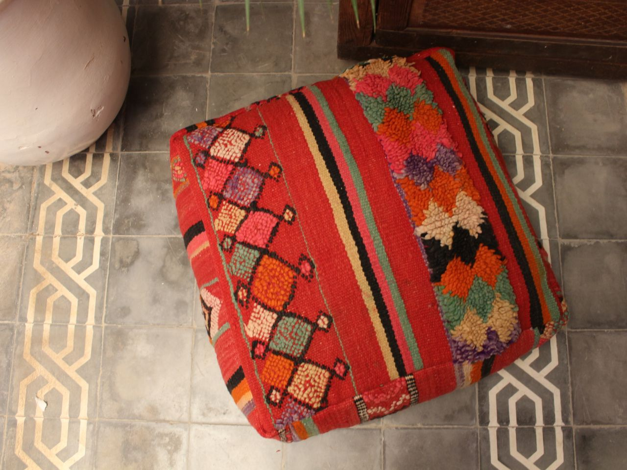 Vintage carpet pouf.