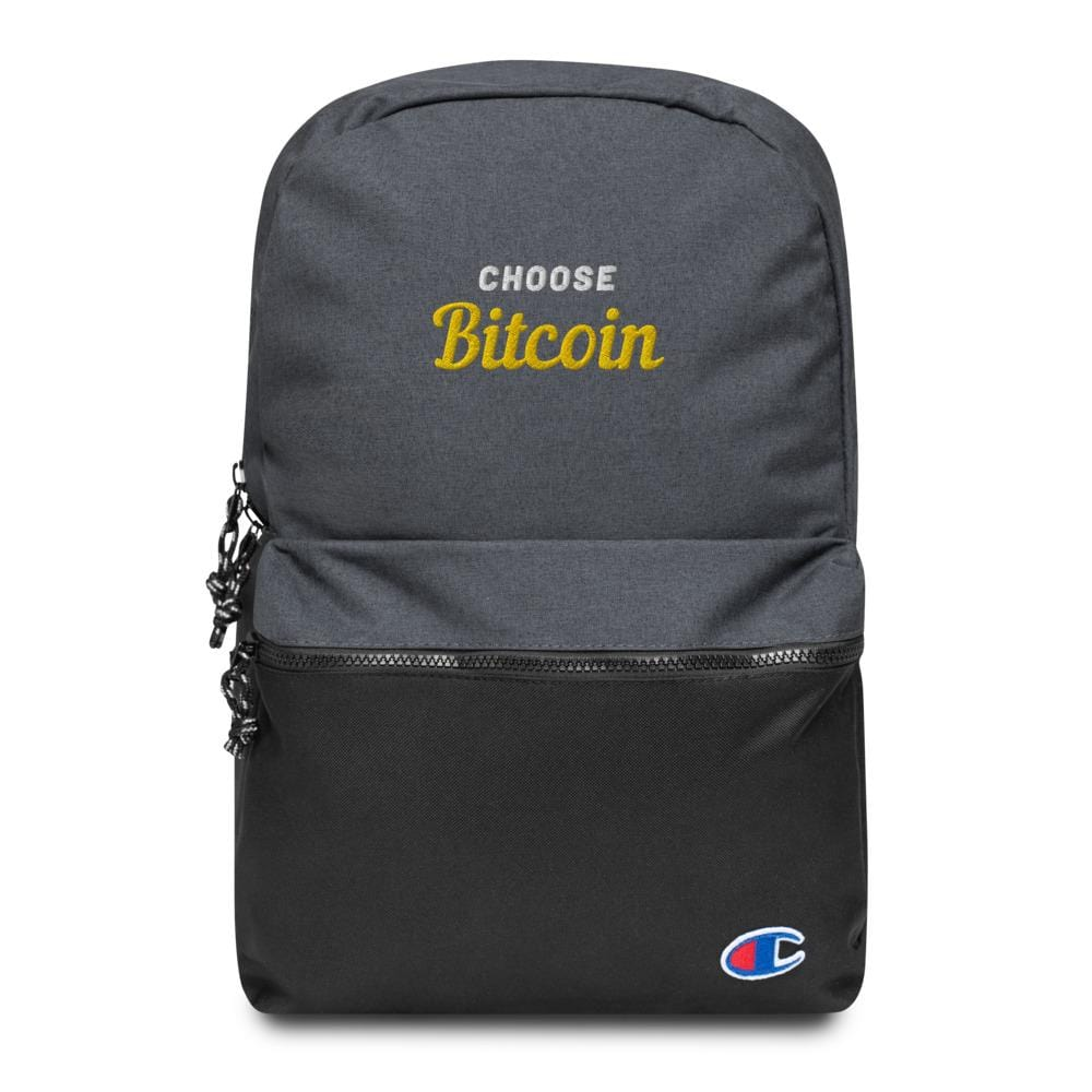 Bitcoin Embroidered Champion Backpack Collaboration - The Bitcoin Shop