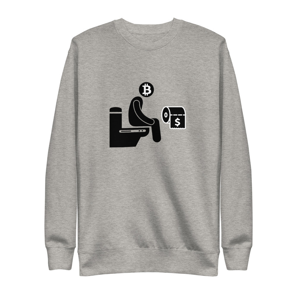 Toilet Paper $ Unisex Premium Sweatshirt Heritage - The Bitcoin Shop